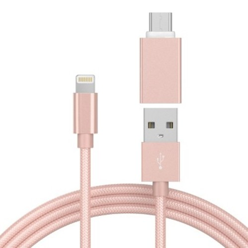 6Ft Lightning Cable 8 Pin USB-C Adapter Rose Gold - Just Wireless