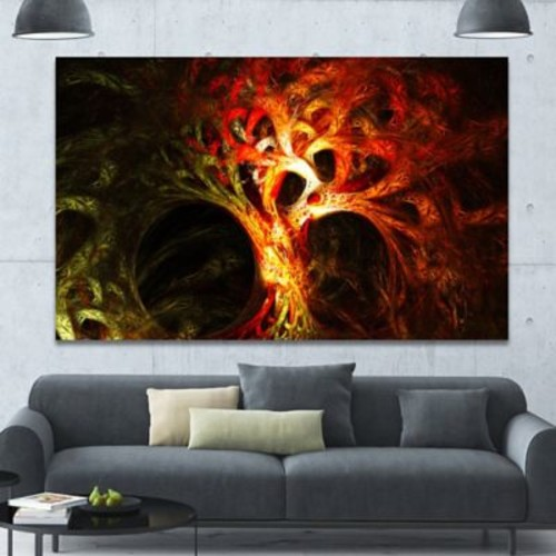 DesignArt 'Magical Orange Psychedelic Tree' Graphic Art on Canvas; 40'' H x 60'' W x 1.5'' D