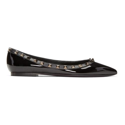 VALENTINO Black  Garavani Patent 'Rockstud Noir' Ballerina Flats