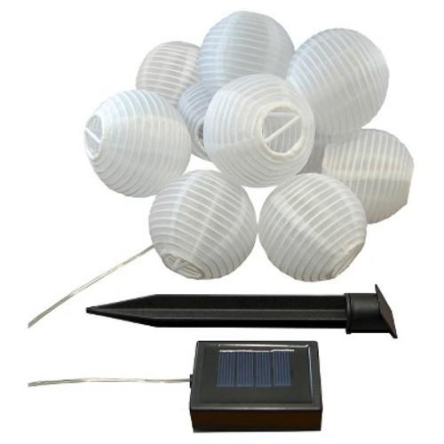 Solar Nylon Lantern String Lights - White (10 Count)