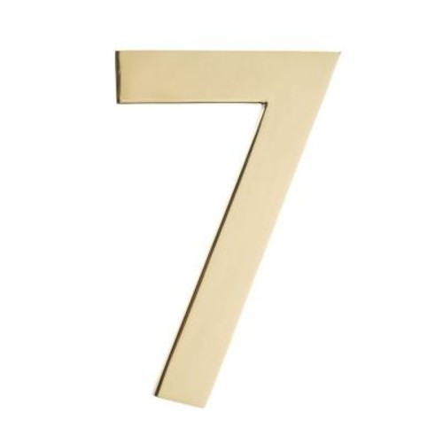 Architectural Mailboxes 4 In. Polished Brass Floating House Number 7