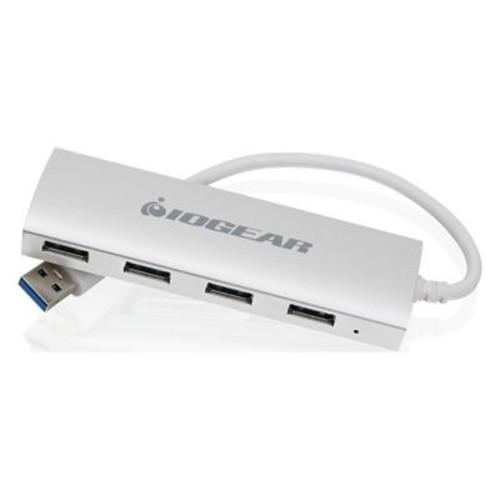 Iogear met(AL) 4 Port External USB 3.0 Hub, White (GUH304)