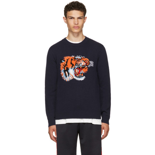 GUCCI Blue Intarsia 'Loved' Tiger Sweater