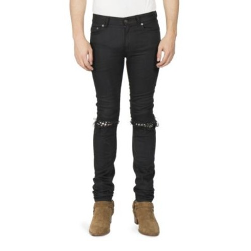 SAINT LAURENT Leather Stud Skinny Jeans