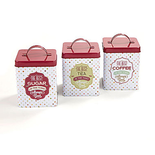 Mind Reader Tin 3-Piece Canister Set CANTIN3-RED