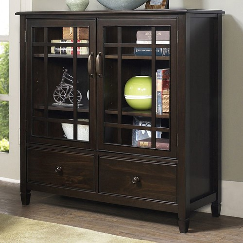 Simpli Home - Connaught Tall Storage Cabinet - Dark Chestnut Brown