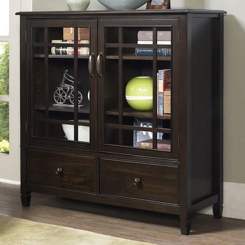Simpli Home - Connaught Tall Storage Cabinet - Dark Chestnut Brown