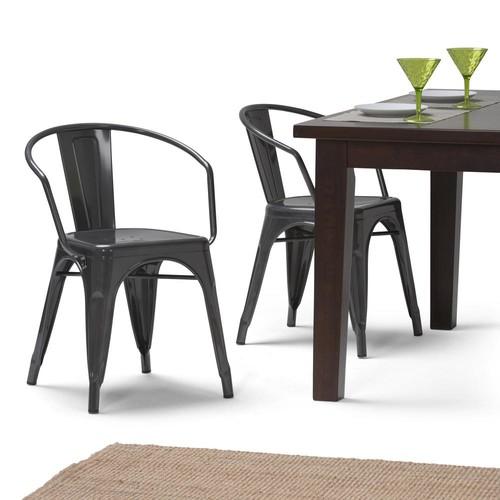 Simpli Home Larkin Grey Metal Dining Arm Chair (Set of 2)