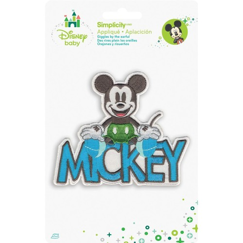 Disney Mickey Mouse Mickey With Name Iron-On Applique - - Disney Mickey Mouse Mickey With Name Iron-On Applique -