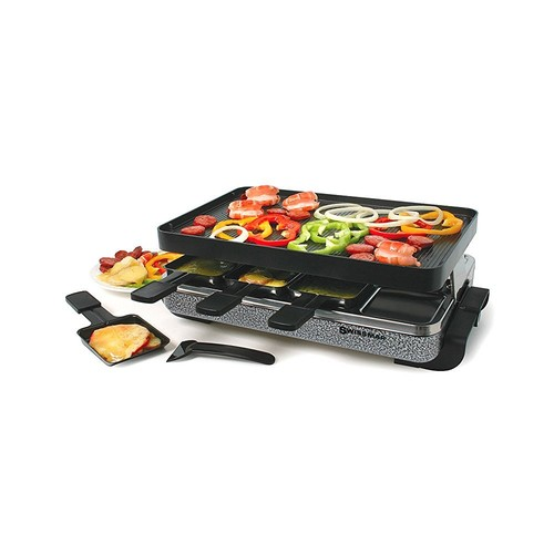 Swissmar KF-77070 Eiger 8-Person Raclette Party Grill with Reversible Cast Aluminum Non-Stick Grill Plate/Crepe Top [Reversible Cast Aluminum Non-Stick Grill Plate/Crepe Top]