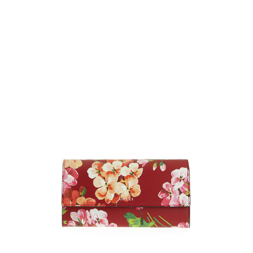 GUCCI Flap-Front Blooms Continental Wallet, Cerise Red/Multi