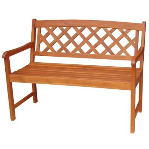 International Concepts Acacia Hardwood 2 Seater X-Back Bench, Oiled Finish