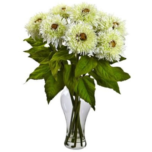 Nearly Natural 1360-WH Sunflower Arrangement, White