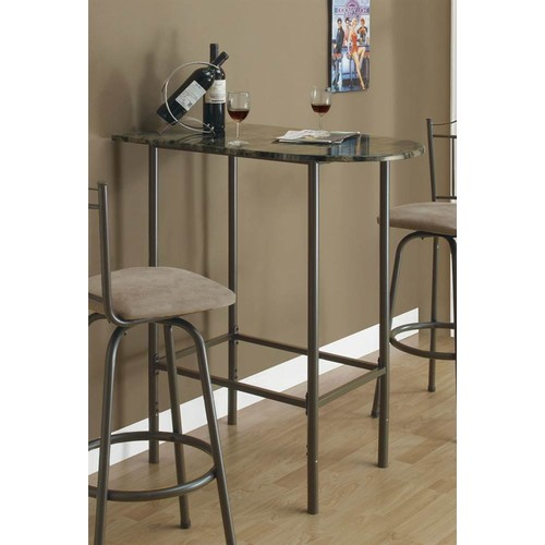 Monarch Specialties Metal Spacesaver Bar Table (Gray)