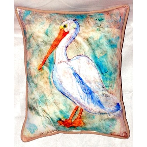 Pelican on Rice 20-inch x 24-inch Indoor/Outdoor Throw Pillow