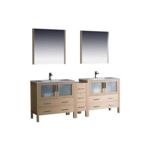Fresca Torino 84 in. Double Vanity in Light Oak with Ceramic Vanity Top in White with White Basins and Mirrors