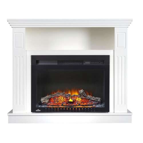 31 in. Freestanding Electric Fireplace TV Stand with Entertainment Center in White