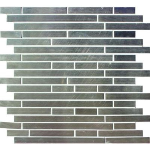 MS International Silver Interlocking 12 in. x 12 in. x 8 mm Metal Mosaic Wall Tile (10 sq. ft. / case)