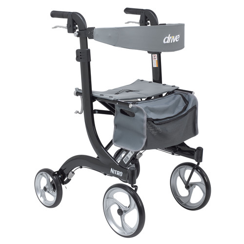 Drive Medical Nitro Euro Style Walker Rollator, Tall, Black