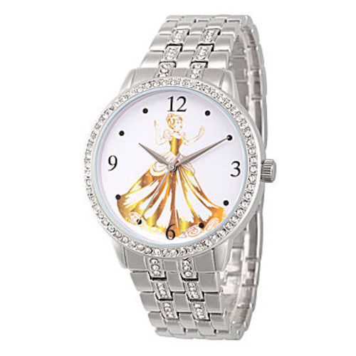 Disney Princess Belle Beauty and the Beast Womens Silver Tone Bracelet Watch-Wds000231