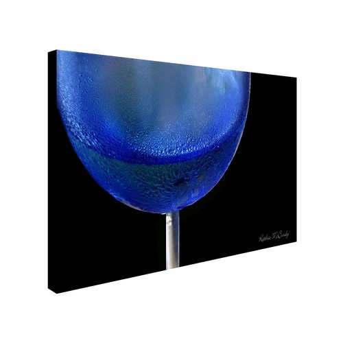 Blue Wine Glass by Kathie McCurdy work, 10 by 19-Inch Canvas Wall Art