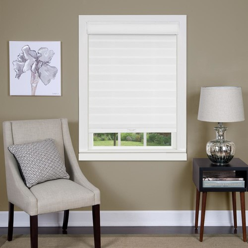 Achim 29 in. W x 72 in. L Sheer White Cordless Double Layered Horizontal Fabric Roman Shade