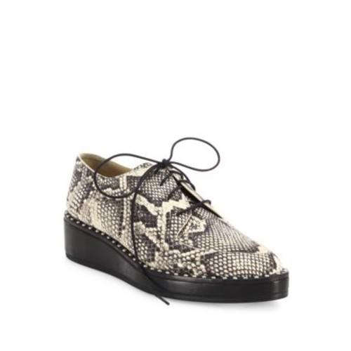 LOEFFLER RANDALL Frances Snake-Embossed Leather Studded Platform Oxfords