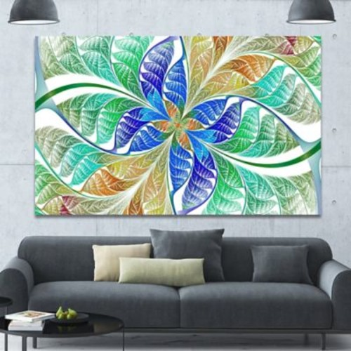 DesignArt 'Light Blue Fractal Stained Glass' Graphic Art on Canvas; 40'' H x 60'' W x 1.5'' D