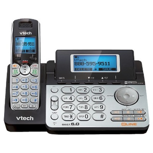 VTech DS6151 2-Line Cordless Phone System for Home or Small Business with Digital Answering System & Mailbox on each line, Silver [2-Line Answering System]