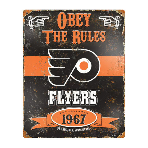 Party Animal Philadelphia Flyers Embossed Metal Sign
