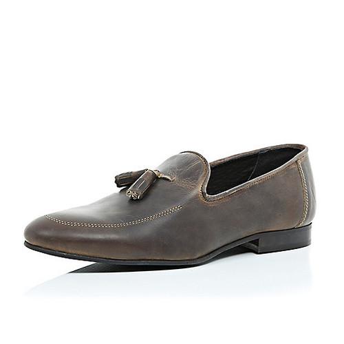 Dark brown worn leather tassel loafers