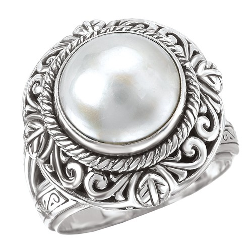 Avanti Sterling Silver White Mabe Pearl Ring