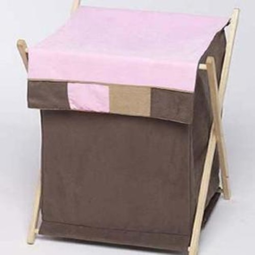 Sweet Jojo Designs Baby and Kids Clothes Laundry Hamper- Soho Pink and Brown