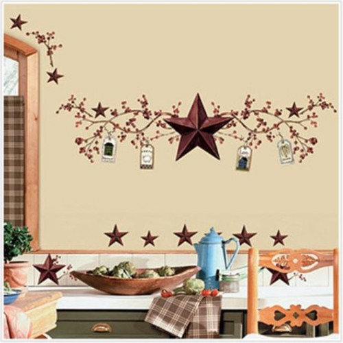 RoomMates RMK1276SCS Country Stars and Berries Peel & Stick Wall Decals, 40 Count