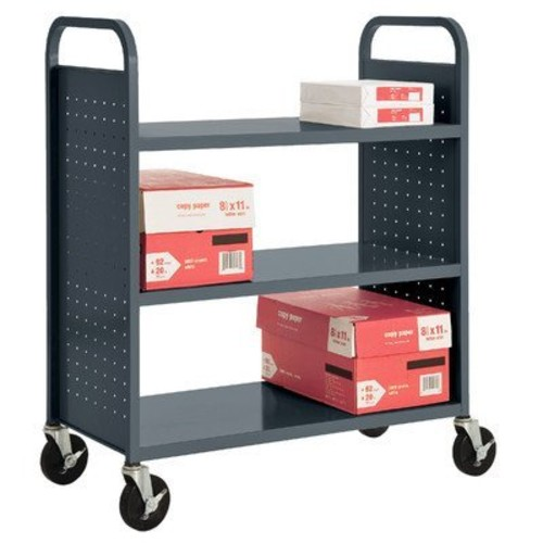Sandusky Lee SF336-02 3 Flat Shelf Book Truck, 19