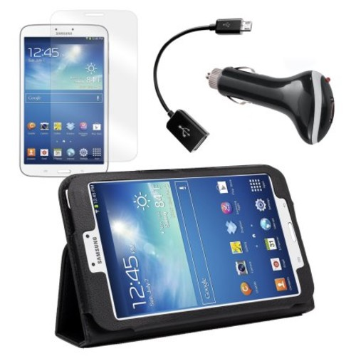 Black Folio Case with Screen Protector, OTG Cable, and Car Charger for Samsung Galaxy Tab 3 8