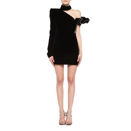 SAINT LAURENT Crystal-Trim One-Shoulder Velvet Cocktail Dress