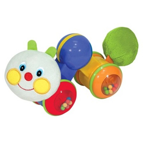 Melissa & Doug K's Kids Press and Go Inchworm Baby Toy - Rattles, Clicks, and Self Propels