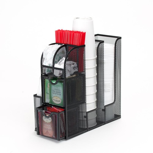 Mind Reader Organizer Coffee Condiment Organizer in Black Metal Mesh