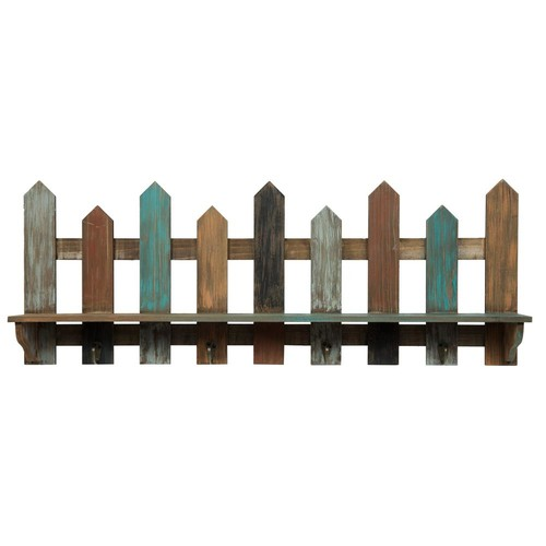 Pinnacle Wood Picket Fence Ledge 31.5 in. x 4.7 in. Decorative Shelf