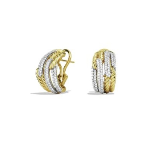 Labyrinth Double-Loop Earrings with Diamonds in G
