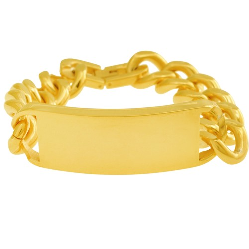 Steel Wide Yellow Plated ID Curb Link Bracelet