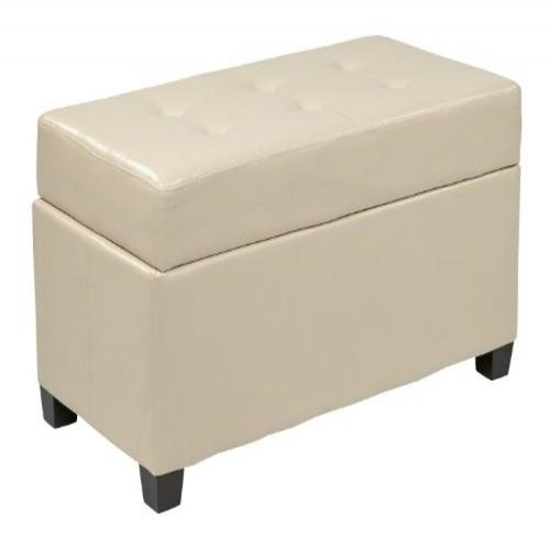 Office Star Metro Faux Leather Storage Ottoman with Espresso Finish Legs, Cream [Cream]