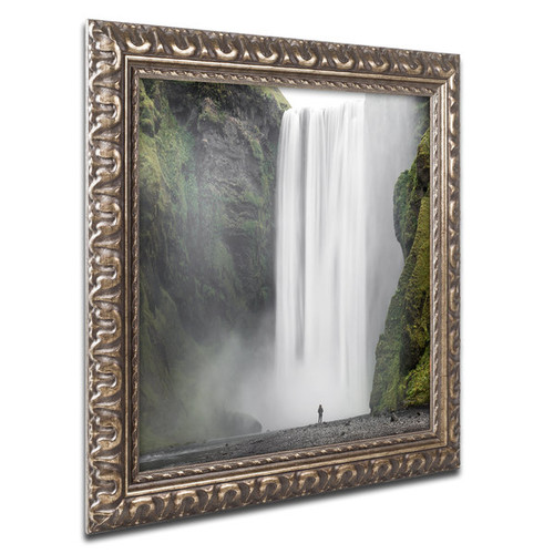Philippe Sainte-Laudy 'Alone at Skogafoss' Ornate Framed Art