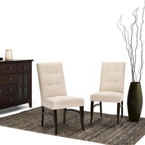 Simpli Home Ezra Natural Fabric Dining Chair (Set of 2)
