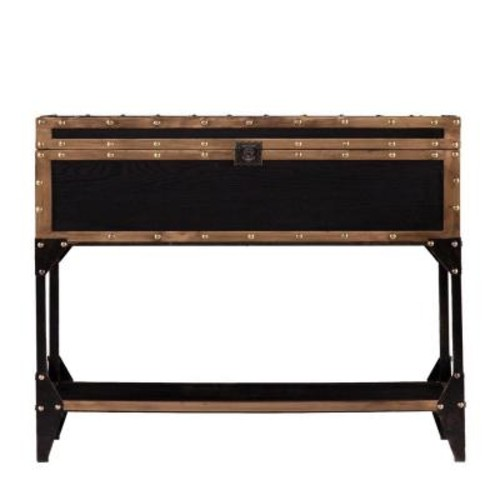 Southern Enterprises Irving Antique Black and Dark Antique Bronze Trunk Storage Console Table