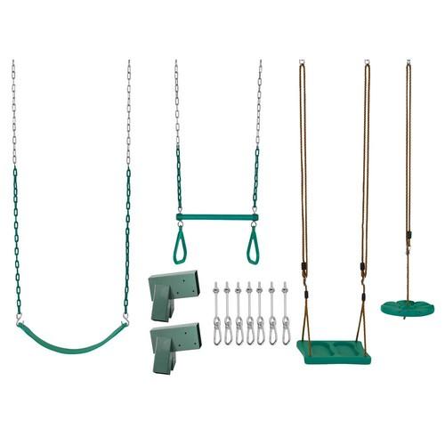 Swingan Swing Set Kit with Belt Swing Trapeze Bar Disc Swing and Standing Swing