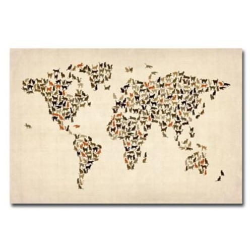 Trademark Fine Art Michael Tompsett 'World Map of Cats' Canvas Art 18x24 Inches
