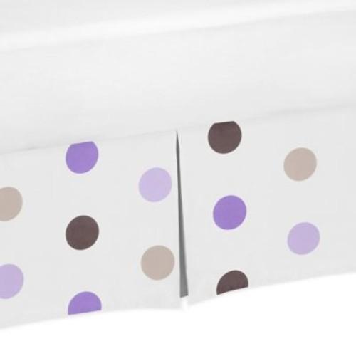 Sweet Jojo Designs Mod Dots Polka Dot Crib Skirt in Purple/Chocolate