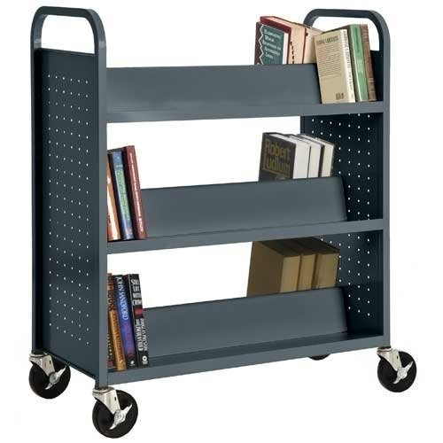 Sandusky Lee SV336-02 Double Sided Sloped Shelf Welded Book Truck, 19